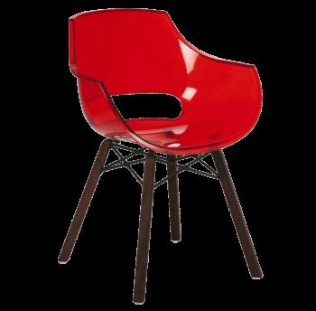 Крісло Papatya Opal Wox Iroko прозоро-червоне