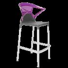 Барное кресло Papatya Ego-K антрацит сиденье, верх прозрачно-пурпурный