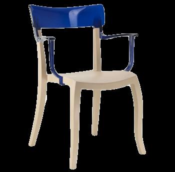 Кресло Papatya Hera-K песочно-бежевое сиденье, верх прозрачно-синий