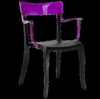 Крісло Papatya Hera-K чорне сидіння, верх прозоро-пурпурний