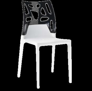 Стул Papatya Ego-Rock белое сиденье, верх черный