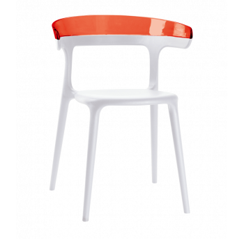 Крісло Papatya Luna біле сидіння, верх прозоро-червоний