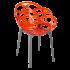Кресло Papatya Flora прозрачно-красное сиденье, низ антрацит