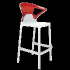 Барное кресло Papatya Ego-K белое сиденье, верх прозрачно-красный