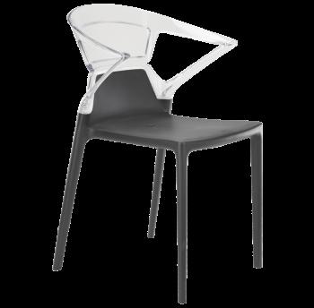 Кресло Papatya Ego-K антрацит сиденье, верх прозрачно-чистый