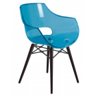 Кресло Papatya Opal-Wox прозрачно-синий, рама лакированный бук венге