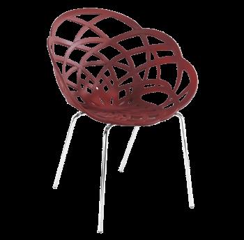 Крісло Papatya Flora-ML матовий червона цегла сидіння, ніжки хром