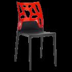 Стілець Papatya Ego-Rock чорне сидіння, верх прозоро-червоний