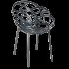Крісло Papatya Flora прозоро-димчасте сидіння, низ антрацит