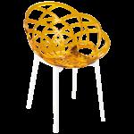 Кресло Papatya Flora прозрачно-желтое сиденье, низ белый