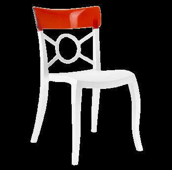 Стул Papatya Opera-S сиденье белое, верх прозрачно-тёмно-красный