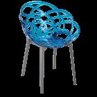 Крісло Papatya Flora прозоро-синє сидіння, низ антрацит
