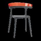 Крісло Papatya Luna антрацит сидіння, верх прозоро-червоний