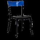 Стілець Papatya Hera-S чорне сидіння, верх прозоро-синій