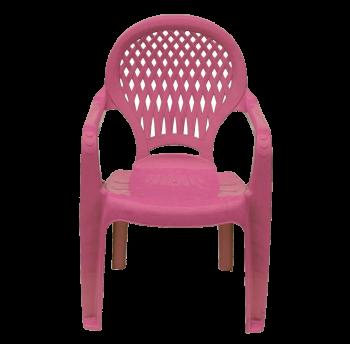 Детское кресло пластиковое Ромб розовое