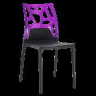 Стілець Papatya Ego-Rock чорне сидіння, верх прозоро-пурпурний