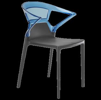 Кресло Papatya Ego-K антрацит сиденье, верх прозрачно-синий