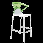 Барное кресло Papatya Ego-K белое сиденье, верх прозрачно-зеленый