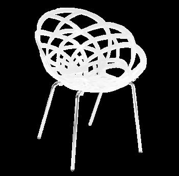 Крісло Papatya Flora-ML біле сидіння, ніжки хром