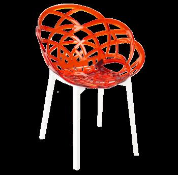Кресло Papatya Flora прозрачно-красное сиденье, низ белый