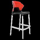 Барний стілець Papatya Ego-S чорне сидіння, верх прозоро-червоний