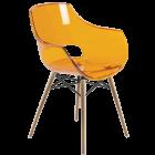 Кресло Papatya Opal-Wox прозрачно-оранжевое, рама натуральный бук