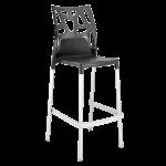 Барный стул Papatya Ego-Rock антрацит сиденье, верх прозрачно-дымчатый