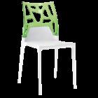Стілець Papatya Ego-Rock біле сидіння, верх прозоро-зелений