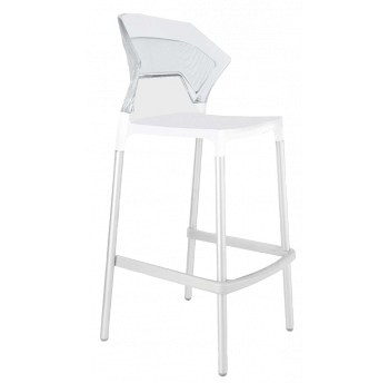 Барний стілець Papatya Ego-S біле сидіння, верх прозоро-чистий