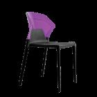 Стілець Papatya Ego-S чорне сидіння, верх прозоро-пурпурний
