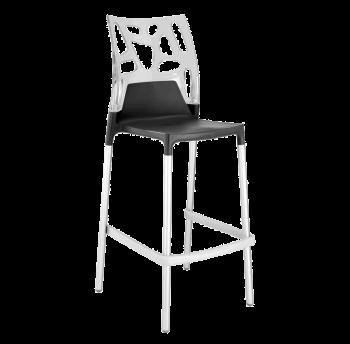 Барний стілець Papatya Ego-Rock антрацит сидіння, верх прозоро-чистий