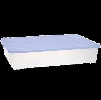 Контейнер для хранения вещей с крышкой 45л верх сиреневый, низ прозрачный