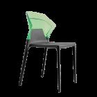 Стул Papatya Ego-S антрацит сиденье, верх прозрачно-зеленый