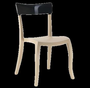 Стул Papatya Hera-S песочно-бежевое сиденье, верх черный