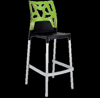 Барний стілець Papatya Ego-Rock чорне сидіння, верх прозоро-зелений