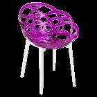 Кресло Papatya Flora прозрачно-пурпурное сиденье, низ белый