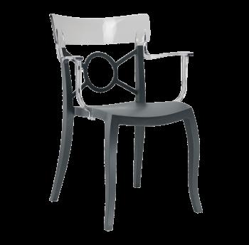 Крісло Papatya Opera-K сидіння антрацит, верх прозоро-димчастий