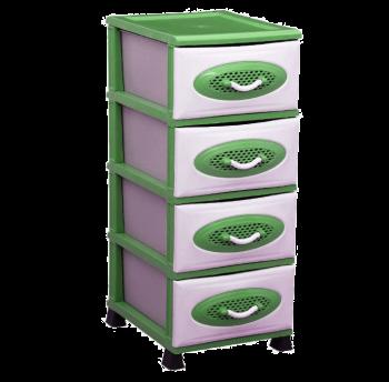 Комод пластиковый 4 уровня зеленый
