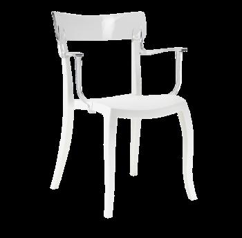 Кресло Papatya Hera-K белое сиденье, верх прозрачно-чистый