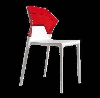 Стілець Papatya Ego-S біле сидіння, верх прозоро-червоний