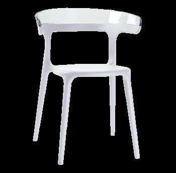 Крісло Papatya Luna біле сидіння, верх прозоро-чистий