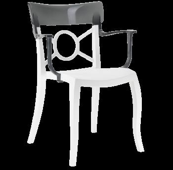 Крісло Papatya Opera-K сидіння біле, верх прозоро-димчастий