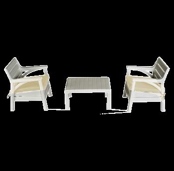 Набор мебели Irak Plastik Барселона (2 кресла + столик) белый