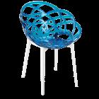 Кресло Papatya Flora прозрачно-синее сиденье, низ белый