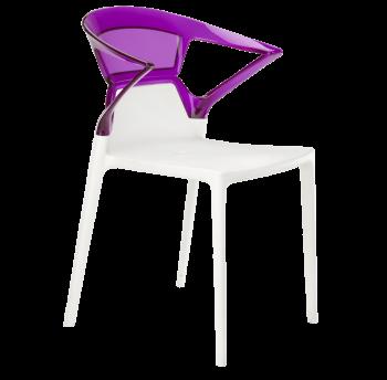 Крісло Papatya Ego-K біле сидіння, верх прозоро-пурпурний