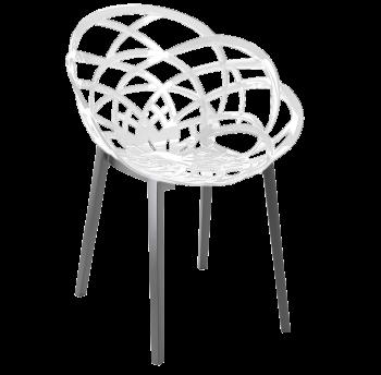 Крісло Papatya Flora біле сидіння, низ антрацит