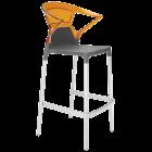 Барне крісло Papatya Ego-K антрацит сидіння, верх прозоро-помаранчевий
