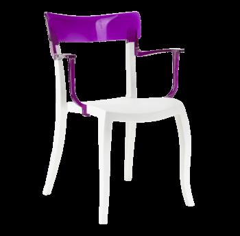 Крісло Papatya Hera-K біле сидіння, верх прозоро-пурпурний