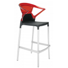 Барное кресло Papatya Ego-K черное сиденье, верх прозрачно-красный