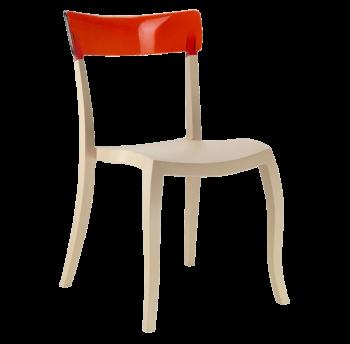 Стілець Papatya Hera-S пісочно-бежеве сидіння, верх прозоро-червоний